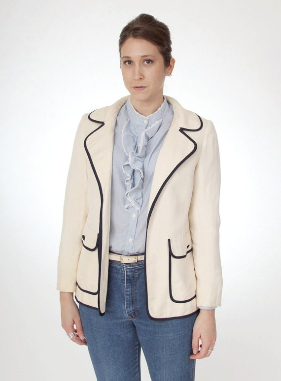 Off-white Navy Trimed Silk Blazer- size medium/large