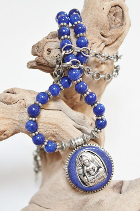 NIRVANA-Buddha in Repose Tibet Silver Blue Lapis Buddha Statue necklace Spiritual Bohemian necklace Ethnic Buddhist Asymmetrical unisex OOAK