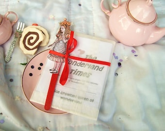 Alice in Wonderland Tea Party Favor, Newspaper Zine with Paper Stick Puppet