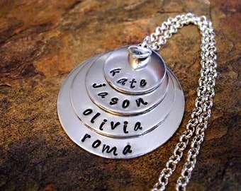 SUPER SALE Mother's Day Jewelry, Personalized Jewelry, Mommy Necklace, Personalized Necklace, Hand Stamped Jewelry, 4 Silver Discs