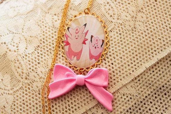 Pokémon Necklace - CLEFAIRY & CLEFABLE - Kawaii, Fairy Kei - Nintendo Nostalgia Necklace