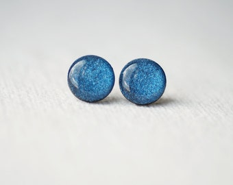 FREE WORLDWIDE SHIPPING - Deep Blue Glitter Stud Earrings - buy 2 get 1 free