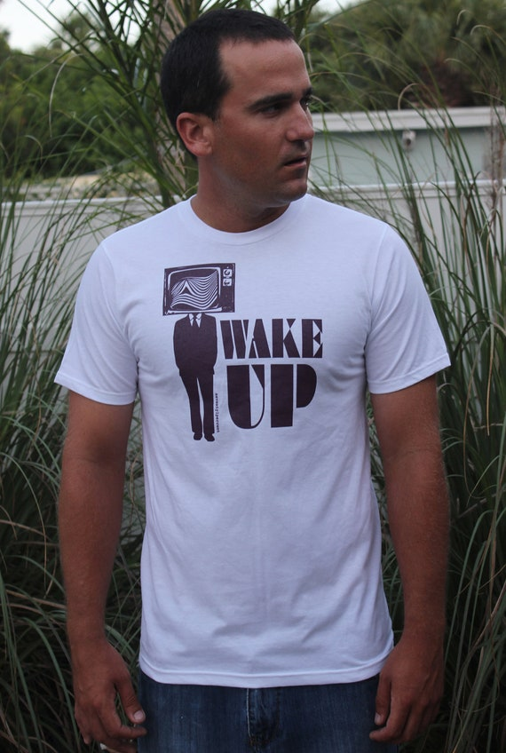 Mens Tshirt Wake Up, 2XL, Fashion Fit, 100% Ring Spun Cotton, White Tee with Purple Ink, Gift Ready