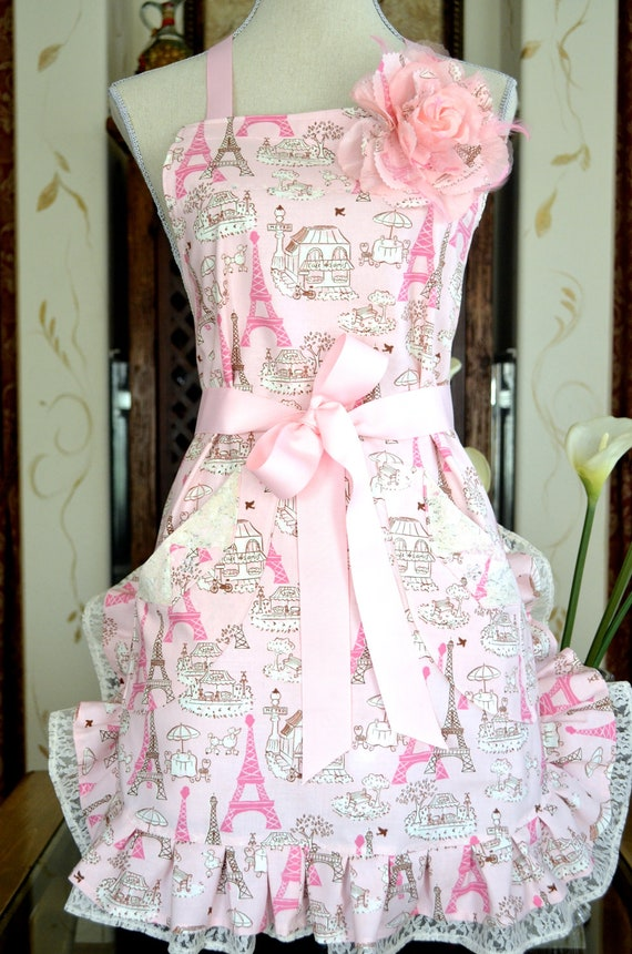 Pink Paris Print Eiffel Tower  Womens Apron  Double Ruffled With  Lace