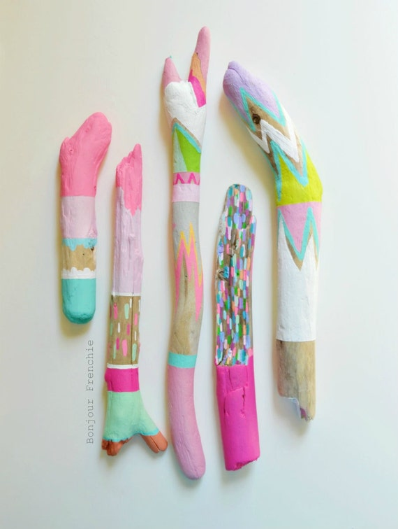 Painted Driftwood, Neon Stick Collection 5 Piece - Home Decor, Centerpiece, Pastel, Stripes, Triangles, Tribal, Scallop, Painted Stick, Fall