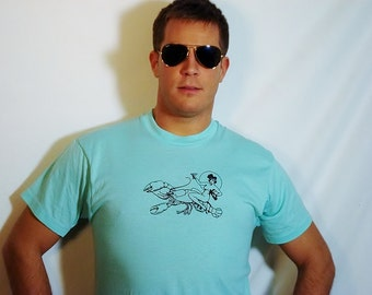 SALE Naked Lady Riding Lobster on Vintage Mint Green T-Shirt - Available in L