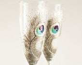 Silver Peacock Feathers Wedding Toasting Champagne Flutes Hand Painted,set of 2