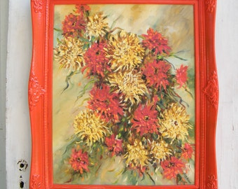Large Vintage Framed Oil Painting Mums In Yellows, Oranges and Reds