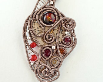 OOAK Steampunk wire wrapped pendant with dichroic glass