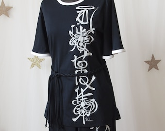 Miss Shaheen Black and White Screen printed Asian Graphics Poly Pantsuit 1970's Butterfly Sleeves Karate Kid