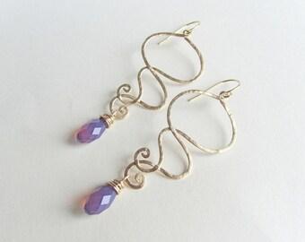 Purple Opal Earrings | Gold Drop Earrings | Purple and Gold Drop Earrings | Gift Idea