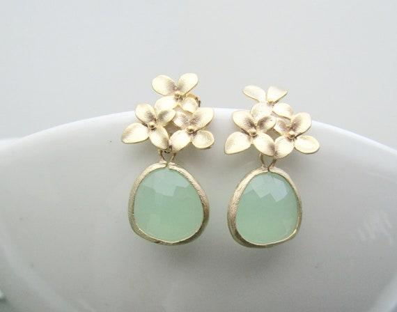 Dephnes Earrings-Fluorite Faceted Teardrop Pendant on a Matte Gold Plated Earring