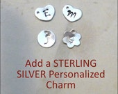 Add one STERLING SILVER tiny hand stamped initial charm - Your choice of flower or heart shape