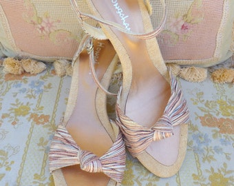 Vintage striped tan open toe wedge sandals