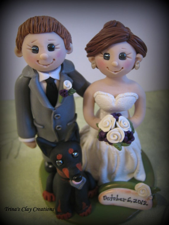 Wedding Cake Topper, Custom Bride, Groom and Dog with Date Plaque, Polymer Clay Wedding/Anniversary Keepsake