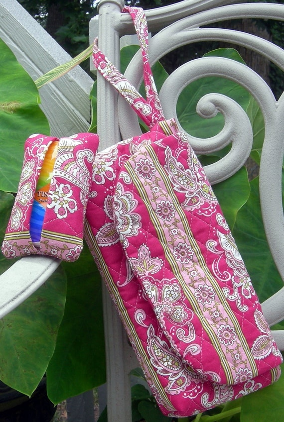 Pink and Green Floral and Stripe Clutch with Coordinating Pocket Tissue Holder