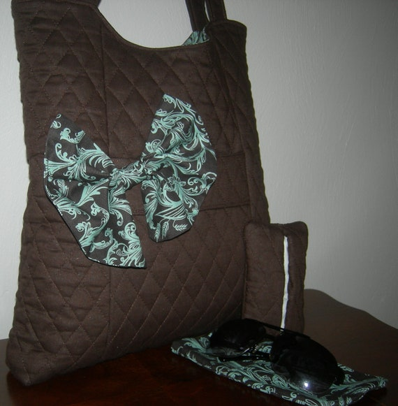 Brown and Turquoise Damask Organizer Tote with Matching Eye Glass Case and Pocket Tissue Holder