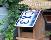 Wooden Bird Feeder, License Plate Bird Feeder, Rustic Reclaimed Natural Weathered Wood and Texas License Plate