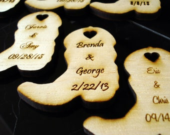 30 Wood Cowboy Boots Wedding Favors Personalized