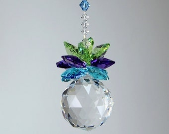 Pineapple Suncatcher m/w Swarovski® Crystal 30mm Ball & Peacock Color Octagon Leaves Car Charm New Home Ornament Gift, Pearl Place N More