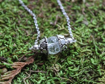 Silver Capped Crackle Quartz Crystal Ball Necklace