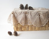 "beige doily 22""x22"" crochet doily, in excellent condition, shabby chic home decor"