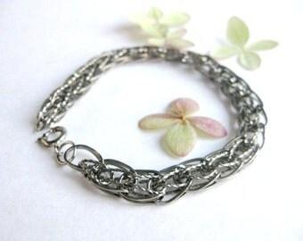 Chunky Vintage silver charm bracelet