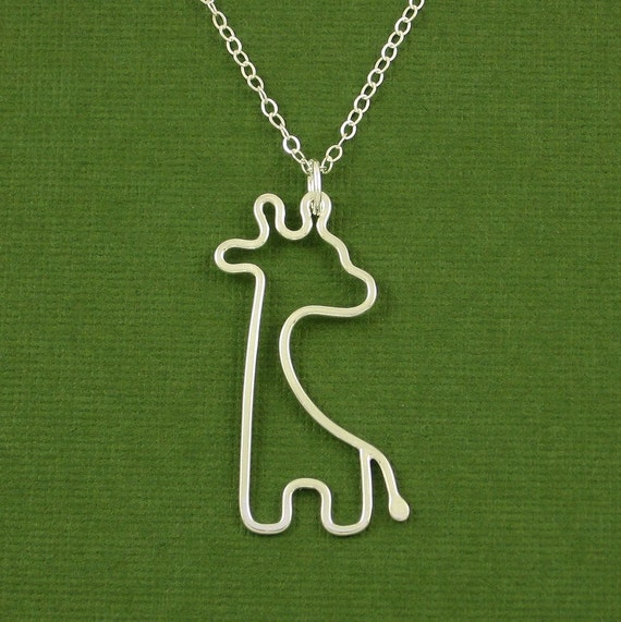 """18"""" Giraffe Necklace, Sterling Silver, Cable Chain, Made To Order"""