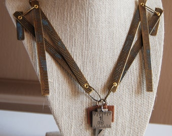 Industrial Ruler Mixed Metal Necklace and Bracelet Set