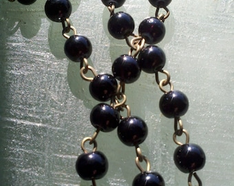 "Jet Black 6 mm  Smooth Round  Glass Beaded Rosary Brass Chain Links, 36"",  Handmade Jewelry Supply"
