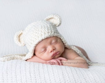 NEWBORN Organic Hat, Baby Boy or Girl Hat, 0 to 1 Months Teddy Bear Earflap Hat, Cream with Ears. Very Cute and Soft. Great for Photo Props.