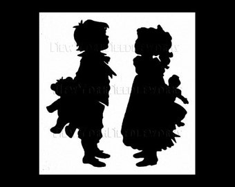 Boy and Girl Silhouette, Silhouette Pattern, Children Silhouette, Cross Stitch, Needlepoint from NewYorkNeedleworks on Etsy