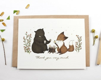30% OFF - 10 Thank You Very Much Notecards - Bear and Fox