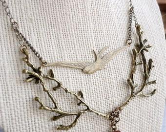 Branch / twig & sparrow woodland bib necklace, twig, jewelry, whimsical statement necklace, A Woodland Romance