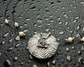 Fine Silver Lentil Pendant - PMC - 999 Silver and Pearl Necklace