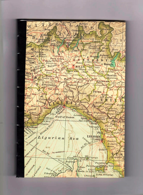 Map of Italy Journal, Coptic Stitch, Ooak