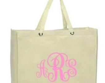 Monogram Tote - Interlocking Monogram on Large Canvas, Reusable, Eco-friendly Shopper Bag NEW - Many Colors (Light Pink shown)