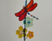 Stained Glass Dragonfly Suncatcher with Fused Glass Flowers