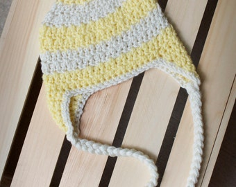 Striped Crochet Beanie with Earflaps and Braids