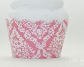 Pink Vintage Damask Cupcake Wraps - Standard Set of 25