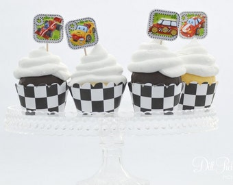 Race Car 3-D Cupcake Toppers - Set of 30 - Assorted Race Cars