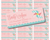 Custom Printable Pinwheel Party Address Labels - Digital PDF File