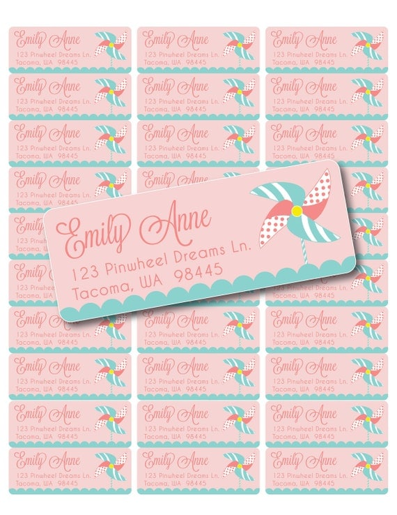 Custom Printable Pinwheel Party Address Labels - Digital PDF File