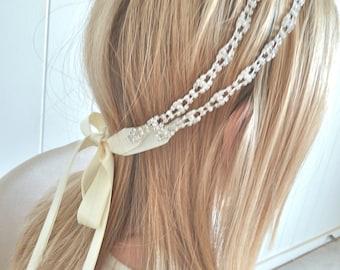 Bridal ribbon headband, bridal crystal headpiece, crystal ribbon headband - MONA DELUX - ready to ship