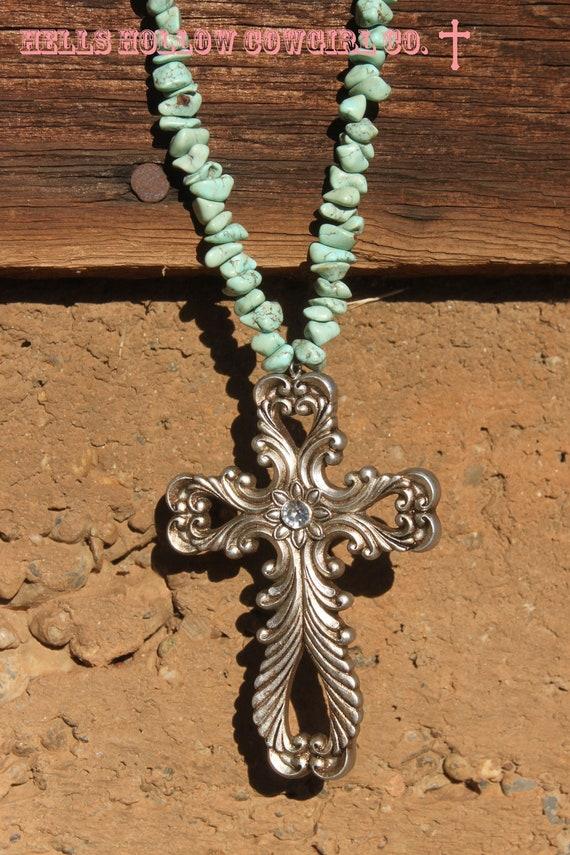 ClearanceSilverado Sunset Turquoise Cross Necklace