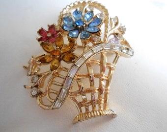 Vintage signed Coro pegasus crystal flower basket brooch, jewelry
