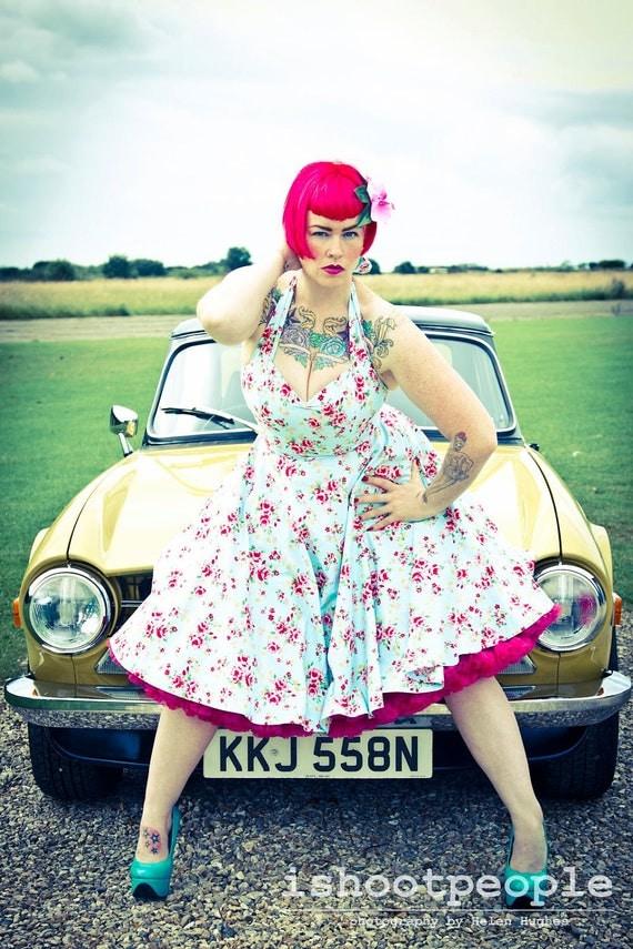 50's Floral Print Dress, blue, rose, halterneck, cirlce skirt, vintage, summer, 1950's