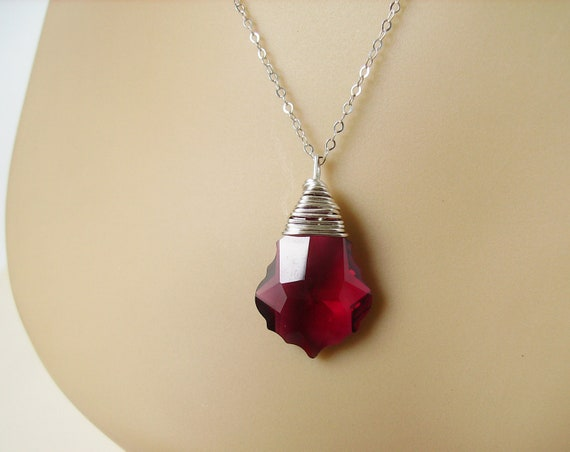 Ruby Red- Sterling Silver Necklace - Swarovski Baroque Cut Crystal, Sterling Silver Wire Wrapped Pendant