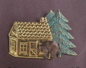 Up North Cabin with Bear and Tree Brooch  - BZ Designs Original