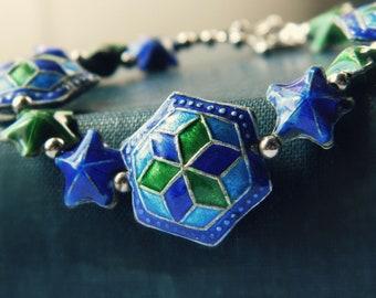 Blue Enamel Bracelet - Vintage / Blue & Green Stars
